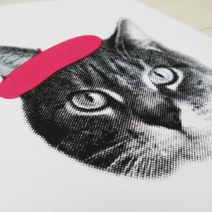 Image of gee whiskers series: frenchie cat notecard