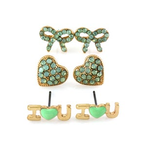 Image of 3pcs Mint Color Earrings Set