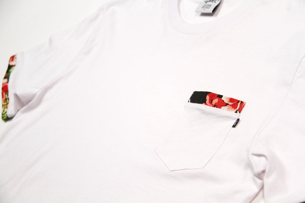 Image of Floral Pocket Tee in White