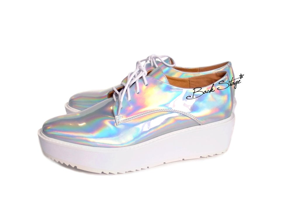 buy popular cd0bc 3eb98 Image of Limited Edition - Hologram Holographic Metallic Mirrors Platform  Oxford Brogues Shoes