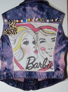 Image of One of a kind customised/handmade Barbie, Pink Denim Waistcoat/Jacket, Size 12.