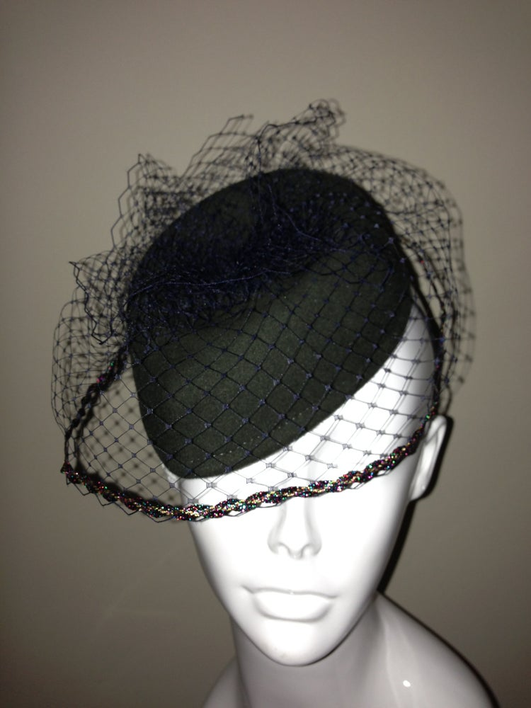 Image of Handmade Forest Green Military Style Veiled Percher Hat