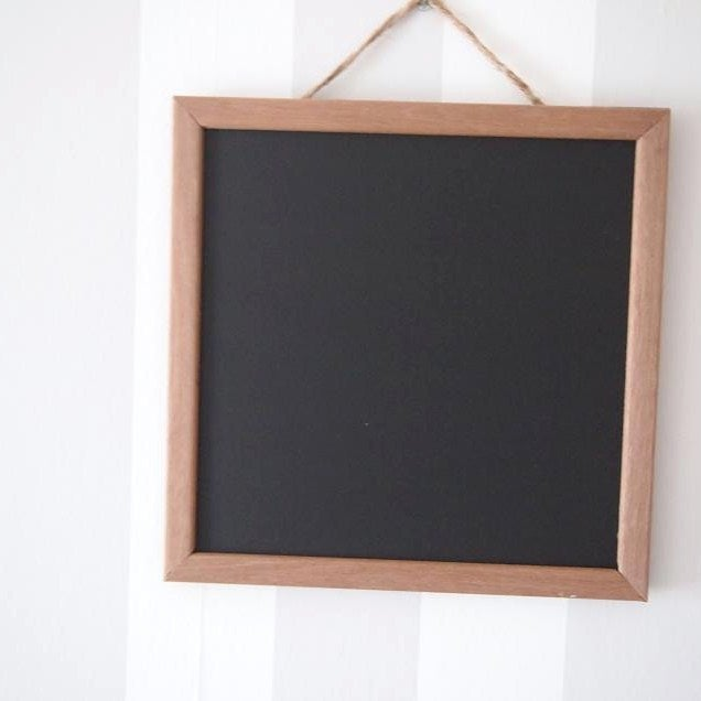 Image of Square Chalkboard with Rounded Brown Frame