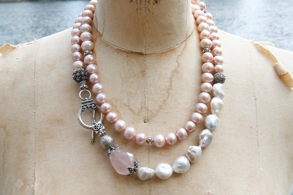 Pink Freshwater Pearl and White Baroque Pearls