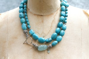 Image of Double Length Turquoise with Aquamarine