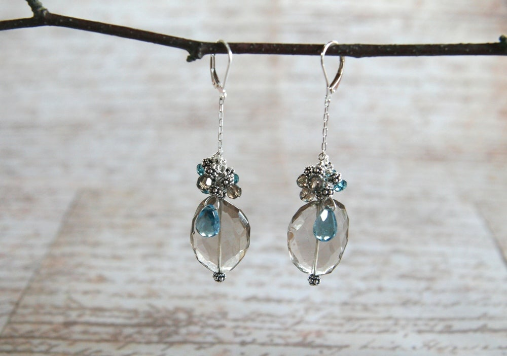 London Blue Topaz and Smokey Quartz Earrings