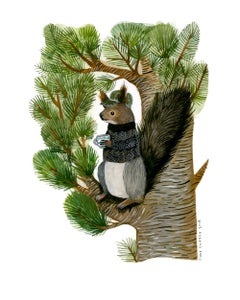 Image of Siberian Squirrel and Cup of Tea - Archival Inkjet Print (Giclée).