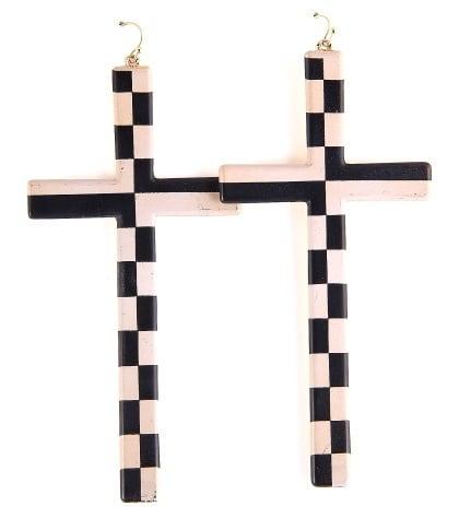 Image of Checkered Cross Earrings