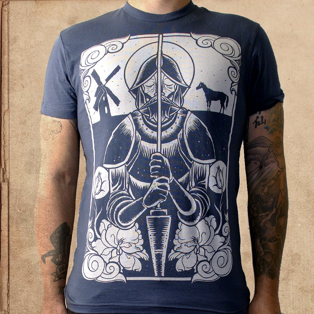 Image of Don Quixote - Indigo Blue -discharge ink