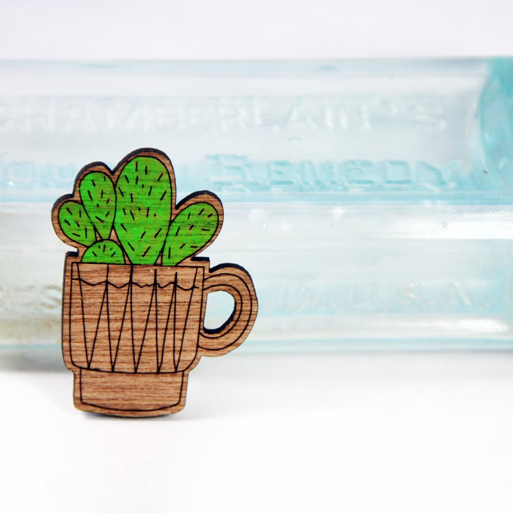 Image of Coffee Cup Cactus Handpainted Brooch