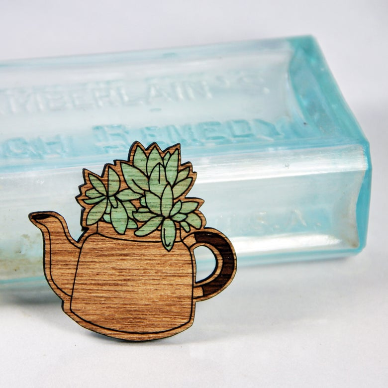 Image of Succulent in a Teapot Brooch - Painted/Plain