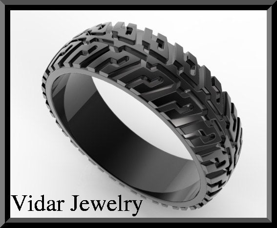 Vidar Jewelry Black Gold Tire Tread Mens Wedding Ring