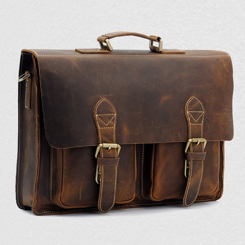 8b1202e3712f5 Image of Men s Handmade Vintage Leather Briefcase   Messenger   13