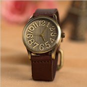 Image of Mens Leather Band Watch / Vintage Large Dial Watch (WAT00121 - Coffee)