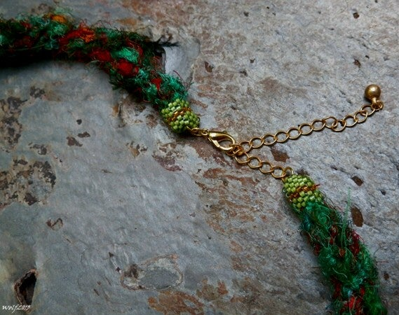 Image of SALE! Gaia, handmade kumihimo necklace with raku pendant, beadwork
