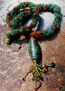Image of  Gaia, handmade kumihimo necklace with raku pendant, beadwork