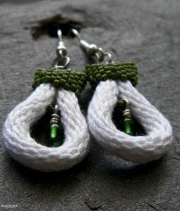 Image of Bit o' Green, handmade kumihimo earrings