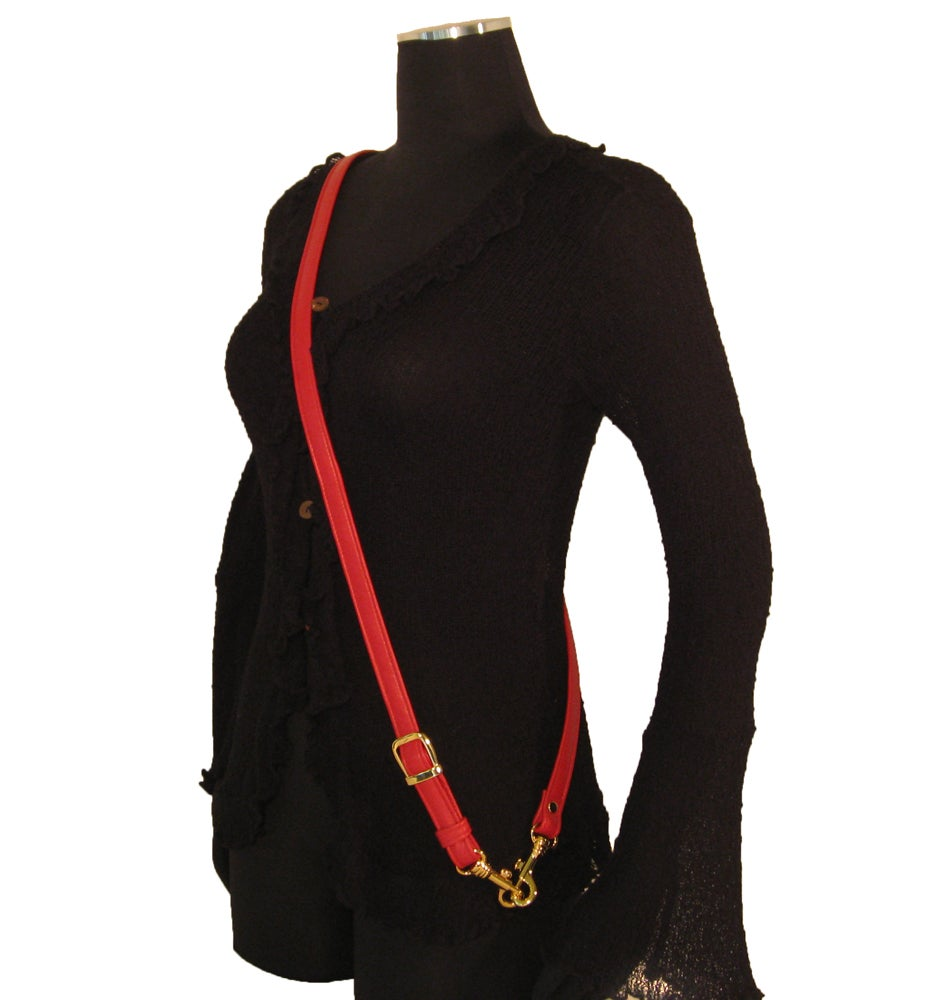 """Image of 55"""" (inch) Adjustable Leather Strap - .75"""" Wide - GOLD or NICKEL #16 Hooks - Choose Color & Hardware"""