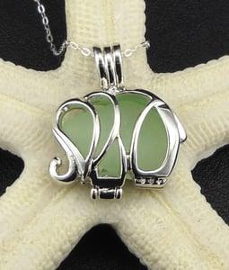 Image of Genuine Sea Glass Necklace Jewelry Elephant Pendant Locket Sea Foam Sea Glass