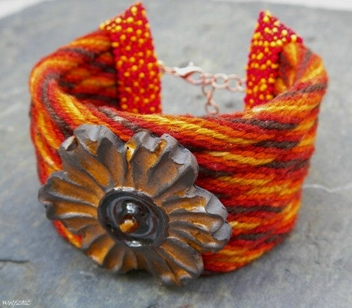Image of SALE! Autunno Fiore handmade kumihimo cuff