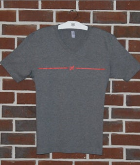 Image of Dark Grey V-neck Not Equals T-shirt