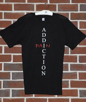Image of Black Addiction Equals Pain Crew Neck T-shirt