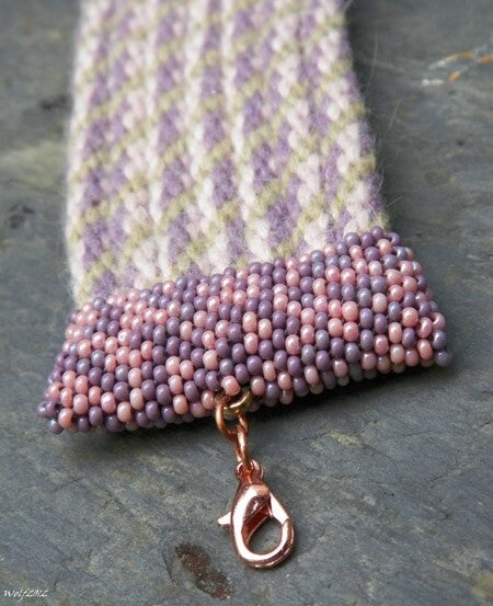 Image of SALE! Rose and Lavender, handmade kumihimo cuff