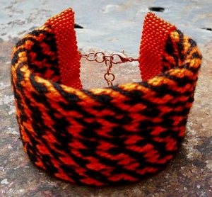 Image of SALE! Tiger Burning Bright, handmade kumihimo cuff