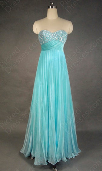 Image of Wholesale A-line Sweetheart Chiffon Floor-length Blue Beading Evening Dress