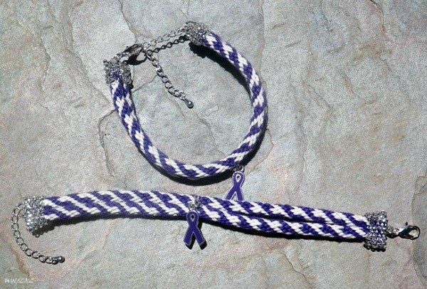Image of Find A Cure For Alzheimer's, handmade kumihimo bracelet