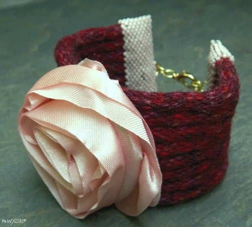 Image of SALE! Pink Roses, handmade kumihimo cuff