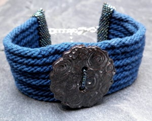 Image of SALE! Night Falling, handmade kumihimo cuff