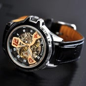 Image of Mens Steampunk Sport Watch / Fashion Leather Automatic Mechanical Watch (WAT0124)