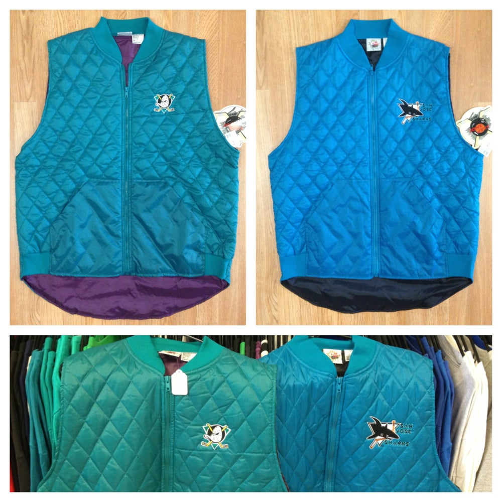 Image of Vintage Deadstock Anaheim Mighty Ducks and San Jose Sharks Windbreaker Vests