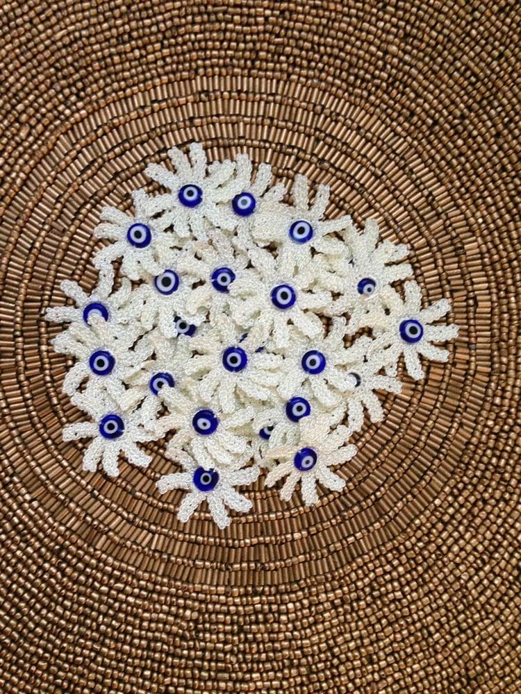Image of Harmony Oya-Embroidery With Evil-Eye Bead Center (Mavi Boncuk)