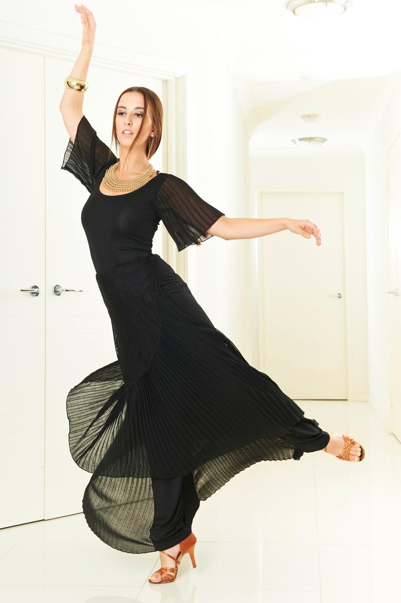 Image of Pleat Fall Skirt - Lace (J3292) Dancewear latin ballroom