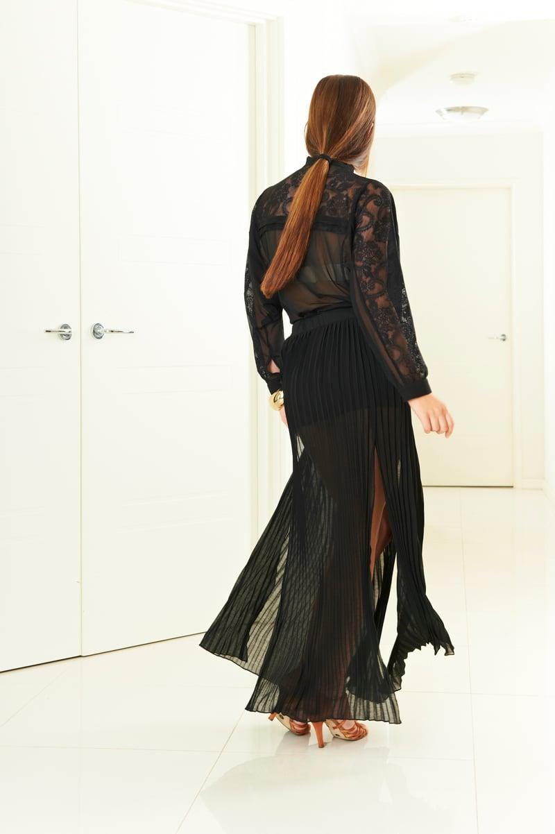 Image of Split Pleat Skirt - Black (J3286) Dancewear latin ballroom
