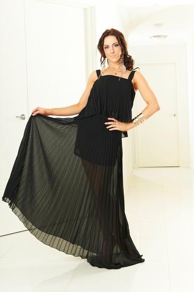 Image of Pleat Ballroom Skirt - Black (J3277)