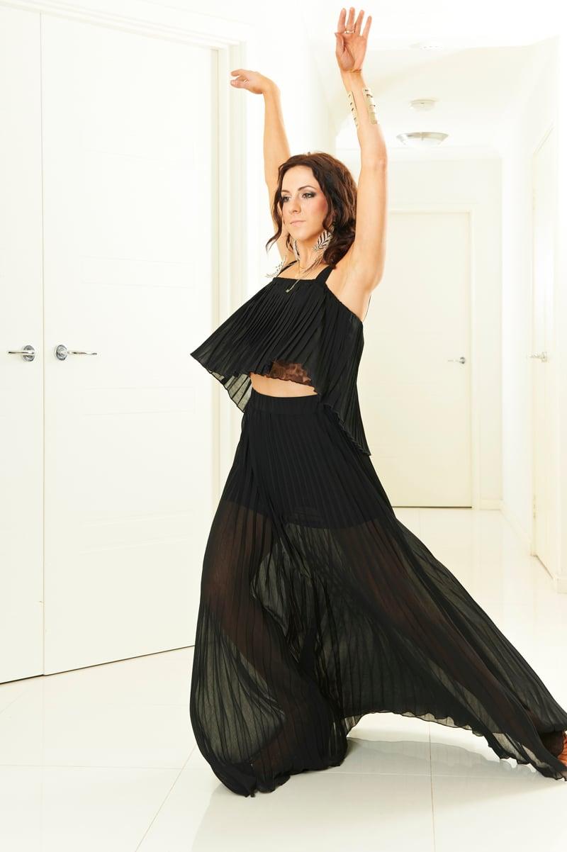 Image of Pleat Ballroom Skirt - Black (J3277) Dancewear latin ballroom