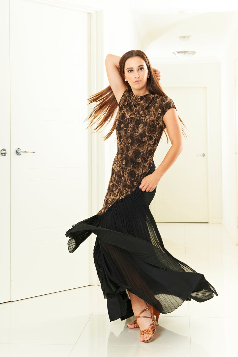 Image of Pleat Fall Skirt - Dark Rose (J3292) Dancewear latin ballroom