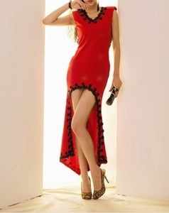 Image of V-Neck Red Sleeveless Dress