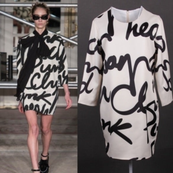 Image of Letter Print Three Quarter Sleeves Mini Dress