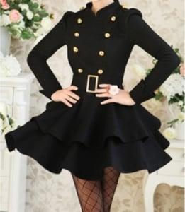 Image of Mandarin Collar Double-Breasted Mini Dress