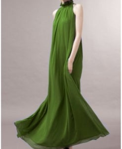Image of Green Chiffon Floor Length Dress