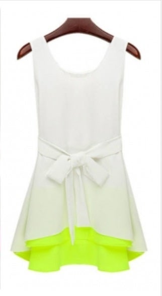 Image of White & Fluorescent Green Tie Tank Shirt