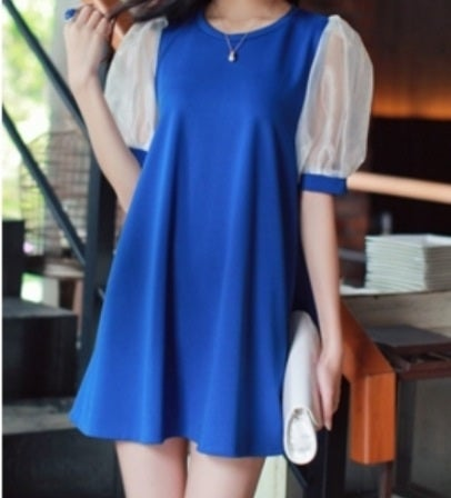 Image of Pleated Short Sleeve Blue Knitting Dress