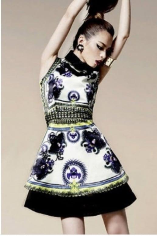 Image of Turndown Collar Flower Print Silk Mini Dress