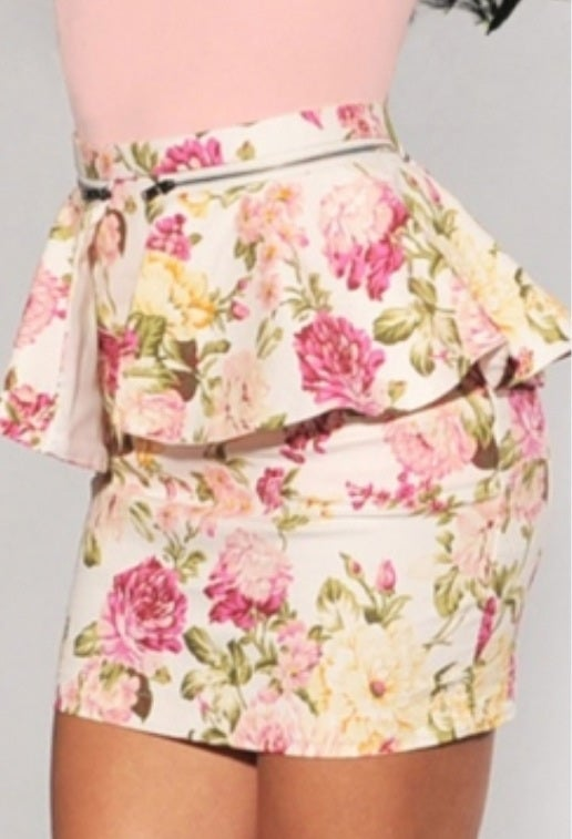 Image of Floral Print Polyester Sheath Mini Skirt