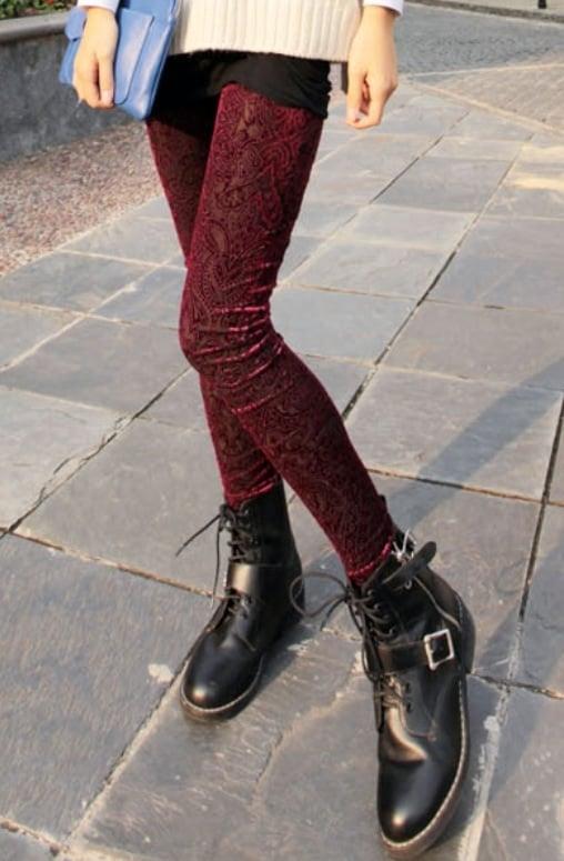 Image of Skinny Floral Carved Mid Leggings