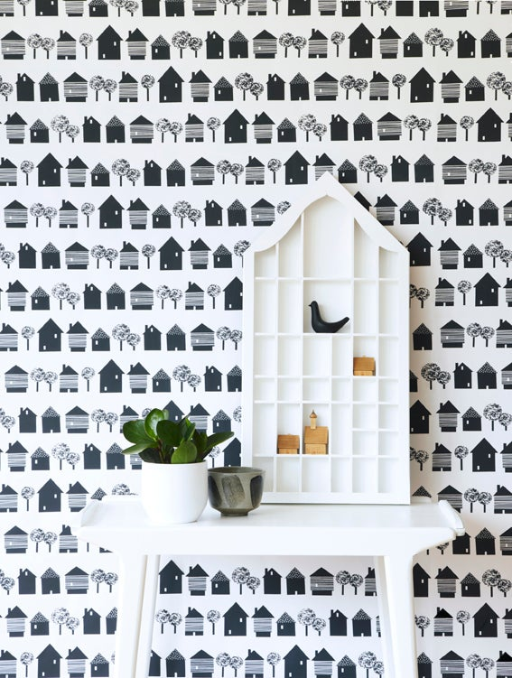 Image of  Smalltown wallpaper in charcoal black